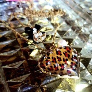 Betsey Johnson Leopard Heart 2 Strand Necklace